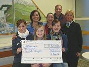 Schüler des Gymnasiums Grotenbach präsentieren einen Scheck mit dem Erlös des Weihnachtsbasars 2009