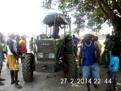 The tractor aarives
